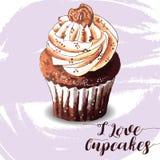 Χέρι που σύρεται νόστιμου Cupcake Στοκ εικόνες με δικαίωμα ελεύθερης χρήσης