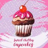 Χέρι που σύρεται νόστιμου Cupcake Στοκ εικόνα με δικαίωμα ελεύθερης χρήσης