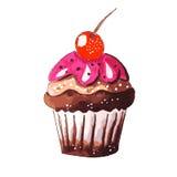 Χέρι που σύρεται νόστιμου Cupcake Στοκ Εικόνες