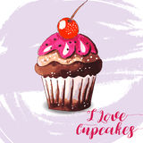 Χέρι που σύρεται νόστιμου Cupcake Στοκ φωτογραφία με δικαίωμα ελεύθερης χρήσης