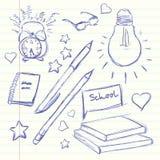 Χέρι που σύρεται πίσω στο σχολείο Ξυπνητήρι, γυαλιά, φως, ημερολόγιο, μάνδρα, μολύβι, βιβλίο, καρδιά, αστέρι διάνυσμα Στοκ φωτογραφίες με δικαίωμα ελεύθερης χρήσης