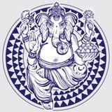 Χέρι που σύρεται το Λόρδο Ganesha πέρα από το φυλετικό γεωμετρικό σχέδιο Ιδιαίτερα λεπτομερής όμορφη διανυσματική απεικόνιση που  ελεύθερη απεικόνιση δικαιώματος