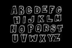 Χέρι που σύρεται abc, doodle ύφος λευκό επιστολών Στοκ Φωτογραφία