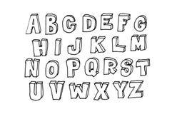 Χέρι που σύρεται abc, doodle ύφος μαύρες επιστολές Στοκ φωτογραφίες με δικαίωμα ελεύθερης χρήσης