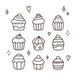 Χέρι που σύρεται cupcakes Στοκ Εικόνα