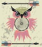 Χέρι που σύρεται dreamcatcher με μια κουκουβάγια, τα φτερά και όλα που βλέπουν τα μάτια Ινδικό φυλακτό στο ύφος boho Αμερικανικό  ελεύθερη απεικόνιση δικαιώματος