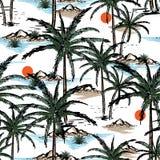 Χέρι που σύρονται και νησί σκίτσων γραμμών θερινό, παραλία και φοίνικες s ελεύθερη απεικόνιση δικαιώματος