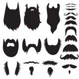 Χέρι που σύρονται mustaches και γενειάδες καθορισμένες Στοκ Εικόνες