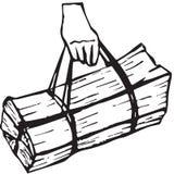 Χέρι που φέρνει την ξύλινη δέσμη Στοκ εικόνες με δικαίωμα ελεύθερης χρήσης