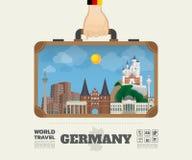 Χέρι που φέρνει το σφαιρικό ταξίδι και το ταξίδι Infogra ορόσημων της Γερμανίας Στοκ εικόνα με δικαίωμα ελεύθερης χρήσης