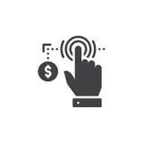 Χέρι που χρησιμοποιεί την οθόνη αφής και το διανυσματικό, γεμισμένο επίπεδο σημάδι εικονιδίων νομισμάτων, στερεό εικονόγραμμα που απεικόνιση αποθεμάτων