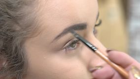 Χέρι που χρησιμοποιεί brow τη βούρτσα, makeup φιλμ μικρού μήκους