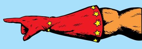 χέρι που δείχνει το superhero Στοκ εικόνα με δικαίωμα ελεύθερης χρήσης