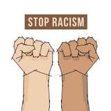 Χέρι πυγμών αφισών ρατσισμού στάσεων απεικόνιση αποθεμάτων
