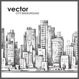 Χέρι πόλεων που σύρονται, διανυσματική απεικόνιση Στοκ εικόνα με δικαίωμα ελεύθερης χρήσης