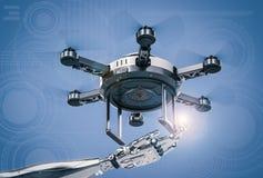 Χέρι ρομπότ που λειτουργεί με τον κηφήνα στοκ εικόνες με δικαίωμα ελεύθερης χρήσης