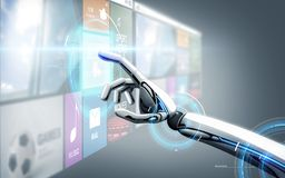 Χέρι ρομπότ σχετικά με την εικονική οθόνη με τα apps Στοκ Φωτογραφίες