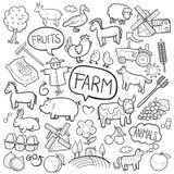 Χέρι σκίτσων εικονιδίων Doodle FarmTraditional - γίνοντα διάνυσμα σχεδίου ελεύθερη απεικόνιση δικαιώματος