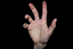 Χέρι στη μαύρη ανασκόπηση Στοκ εικόνες με δικαίωμα ελεύθερης χρήσης