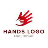 Χέρι στο χέρι λογότυπο Διανυσματικό αφηρημένο σχέδιο λογότυπων Στοκ Εικόνα