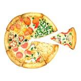 Χέρι συλλογής Pizaza που χρωματίζεται στο watercolor ελεύθερη απεικόνιση δικαιώματος