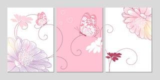 Χέρι-σχεδιασμός του floral υποβάθρου με τις μαργαρίτες και τις πεταλούδες λουλουδιών Στοκ Εικόνες
