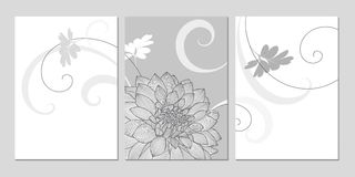 Χέρι-σχεδιασμός του floral υποβάθρου με τις ντάλιες λουλουδιών χαιρετισμός καρτών μοντέρν&omi Στοκ εικόνα με δικαίωμα ελεύθερης χρήσης