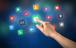 Χέρι σχετικά με τα apps Στοκ Εικόνες