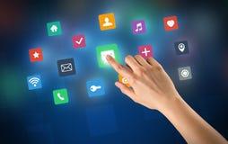 Χέρι σχετικά με τα apps Στοκ Εικόνα