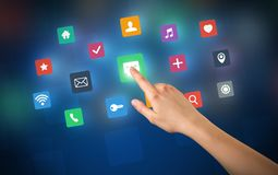 Χέρι σχετικά με τα apps Στοκ εικόνα με δικαίωμα ελεύθερης χρήσης