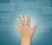 Χέρι σχετικά με την οθόνη Στοκ φωτογραφία με δικαίωμα ελεύθερης χρήσης