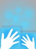 Χέρι σχετικά με την οθόνη Στοκ Φωτογραφίες