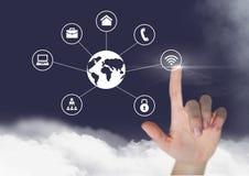 Χέρι σχετικά με τη σύνδεση των εικονιδίων στο ψηφιακά παραγμένο κλίμα ελεύθερη απεικόνιση δικαιώματος