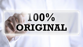 Χέρι σχετικά με το κείμενο: 100% αρχικό Στοκ Φωτογραφία