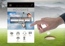 Χέρι σχετικά με App σπασιμάτων διακοπών γκολφ τη διεπαφή Στοκ φωτογραφίες με δικαίωμα ελεύθερης χρήσης