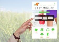 Χέρι σχετικά με App σπασιμάτων διακοπών τη φύση διεπαφών Στοκ εικόνα με δικαίωμα ελεύθερης χρήσης