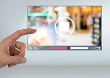 Χέρι σχετικά με App video τη διεπαφή Στοκ φωτογραφία με δικαίωμα ελεύθερης χρήσης