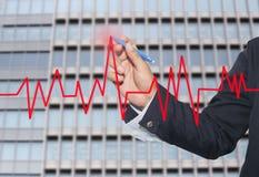 χέρι του κόκκινου σημείου μανδρών χρήσης επιχειρηματιών για να ολοκληρώσει τη γραφική παράσταση γραμμών Στοκ Εικόνες