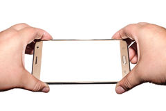 Χέρι το smartphone που απομονώνεται με, πορεία ψαλιδίσματος Στοκ φωτογραφία με δικαίωμα ελεύθερης χρήσης
