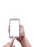 Χέρι το smartphone που απομονώνεται με, πορεία ψαλιδίσματος Στοκ εικόνες με δικαίωμα ελεύθερης χρήσης
