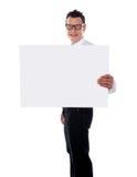 χέρι τύπων εμβλημάτων αγγελιών που κρατά το ένα χαμογελώντας Στοκ εικόνα με δικαίωμα ελεύθερης χρήσης