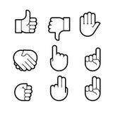 χέρι χειρονομιών Εικονίδια γραμμών καθορισμένα διανυσματική απεικόνιση