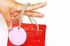 χέρι Χριστουγέννων τσαντών - κρατημένες αγορές Στοκ Φωτογραφία