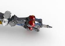 χέρι 3 δάχτυλων που δείχνει το ρομπότ Στοκ Φωτογραφίες