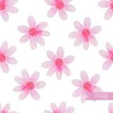 Χέρι Watercolor που σύρεται και που χρωματίζεται άνευ ραφής σχέδιο λουλουδιών Στοκ Φωτογραφίες