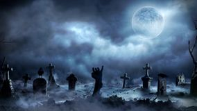 Χέρι Zombie που αυξάνεται από ένα υπόβαθρο ζωτικότητας γραφικής παράστασης νεκροταφείων διανυσματική απεικόνιση