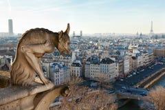 χίμαιρα που αγνοεί τον ορίζοντα του Παρισιού Στοκ Φωτογραφίες