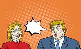 Χίλαρι Κλίντον εναντίον του Ντόναλντ Τραμπ εκλεκτής ποιότητας κωμικού ύφους τέχνης συζήτησης του λαϊκού Στοκ Φωτογραφία