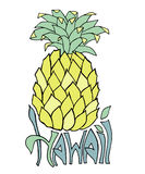 Χαβάη Έμβλημα τυπογραφίας Απεικόνιση σκίτσων ανανά Αφίσα Aloha Διανυσματική εγγραφή Στοκ εικόνες με δικαίωμα ελεύθερης χρήσης