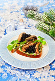 Χαβιάρι Beluga τροφίμων Χριστουγέννων σε ένα ψωμί Στοκ εικόνες με δικαίωμα ελεύθερης χρήσης